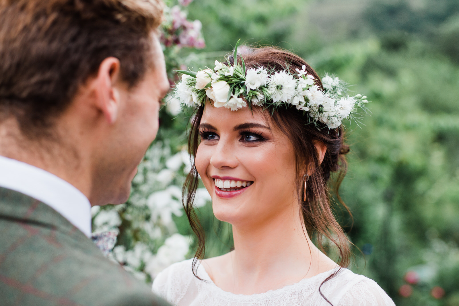 boho bride smiling up at groom Yorkshire wedding