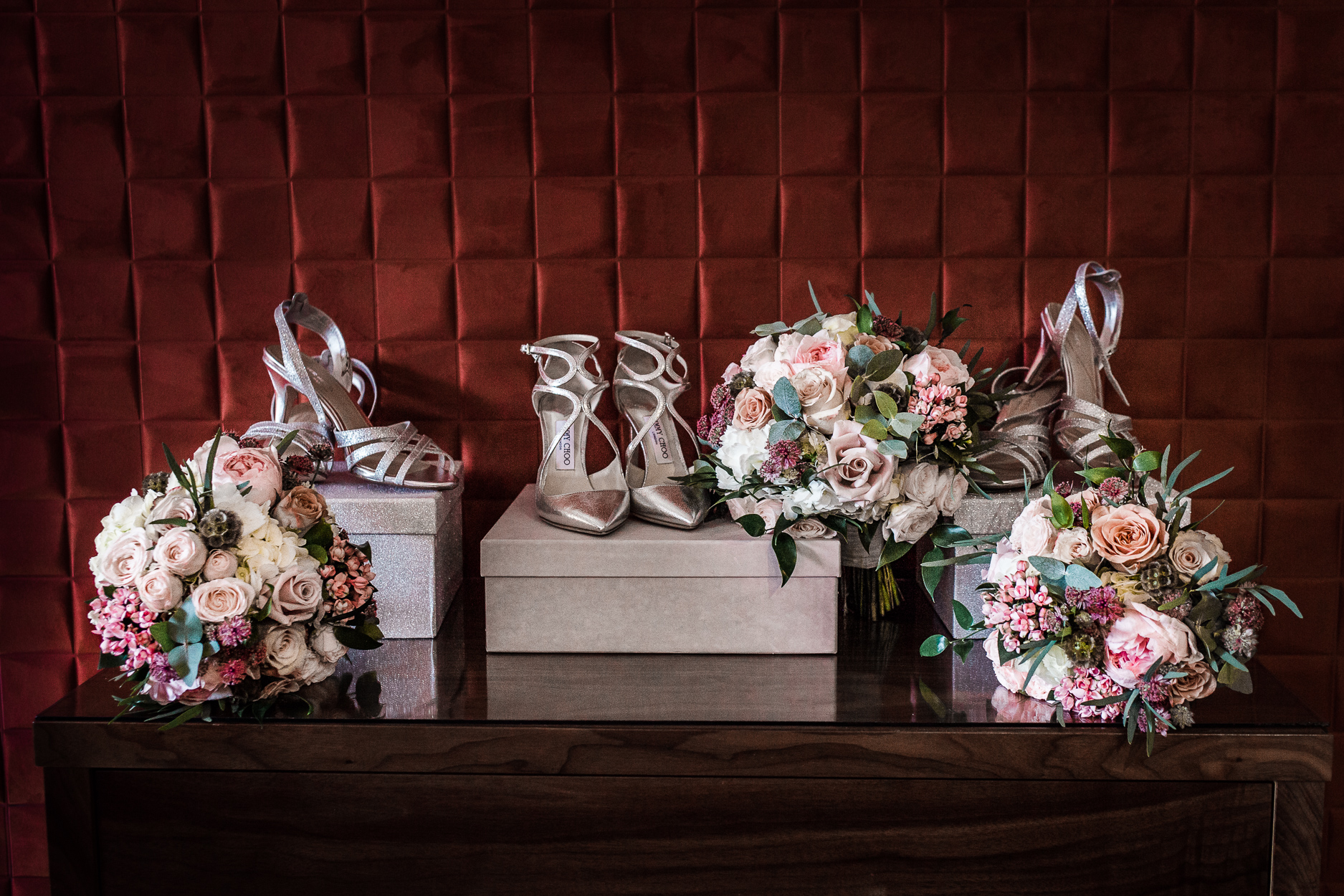flowers and and shoes Aimee and Warren, Storrs Hall wedding photography